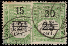 Luxembourg 1920 Postage due provisional pair fine used.