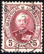 Luxembourg 1893-96 5f lake official fine used.