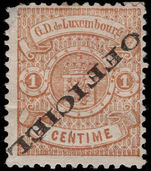 Luxembourg 1875-80 1c official inverted overprint (corner fault) mounted mint.