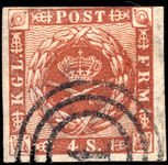 Denmark 1862 4s brown fine used four margins (just touching).