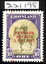 Greenland 1945 Liberation 10ø Red Overprint with RPS Certificate stating Genuine fine mint very lightly hinged.