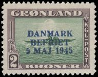 Greenland 1945 Liberation 2Kr Blue Overprint fine mint very lightly hinged.