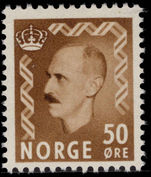 Norway 1950-57 50ø yellow-brown unmounted mint.