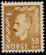 Norway 1950-57 50ø yellow-ochre unmounted mint.