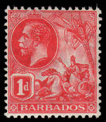 Barbados 1912-16 1d scarlet scarce shade fine mint lightly hinged.