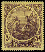 Barbados 1916-19 3d deep purple on yellow thick paper fine mint lightly hinged.