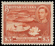 British Guiana 1938-52 $3 bright red-brown lightly hinged.