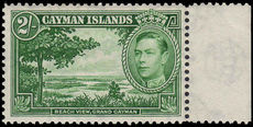 Cayman Islands 1938-48 2/- Deep Green mint lightly hinged.