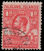 Falkland Islands 1929-37 1d scarlet line perf fine used.