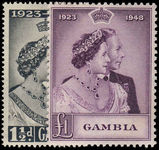 Gambia 1948 Royal Silver Wedding fine mint lightly hinged.