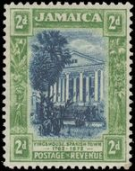 Jamaica 1921-29 2d indigo and green fine lightly mounted mint.