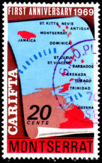 Montserrat 1969 20c Carifta Crown to Right of CA very fine used