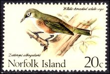 Norfolk Island 1970-71 Birds 20c White-Chested White Eye unmounted mint.