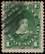 Newfoundland 1887 1c green fine used.