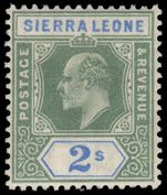 Sierra Leone 1903 2/- Crown CA very fine lightly mounted mint.