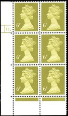 X936 6p Yellow-Olive Phosphorised Paper Cylinder 11 Dot unmounted mint.