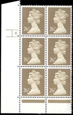 X972 26p Drab Phosphorised Paper Cylinder 4 No Dot unmounted mint.