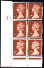 X973 27p Chestnut Phosphorised Paper Cyl 1 No Dot PVAD unmounted mint.