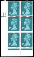 X983 32p Greenish Blue Phosphorised Paper Cylinder 1 Dot unmounted mint.