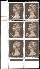 X988 35p Sepia Phosphorised Paper Cylinder 1 Dot unmounted mint.