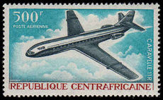 Central African Rep 1967 500Fr Caravelle 11R Airplane unmounted mint.