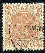 Brazil 1882 200R brownish-rose fine used