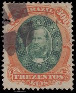 Brazil 1878 300r dark green and orange fine used.