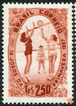 Brazil 1957 Spring Games Volleyball unmounted mint.