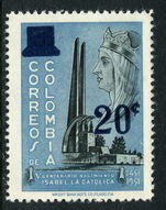 Colombia 1959 Isabella The Catholic Surcharge unmounted mint.
