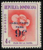 Dominican Republic 1960/61 9c on 4c Mahogany Flower unmounted mint.